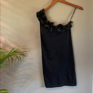 One shoulder black ruffle stretch dress